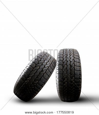 Close up tire with space for texts display isolated on white background