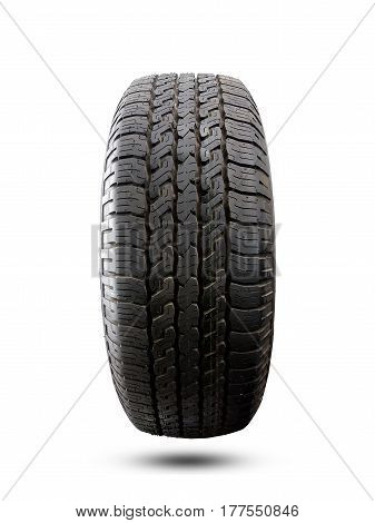 Close up tire with space for texts display isolated on a gray background