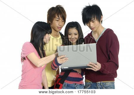 Friends group of students studying