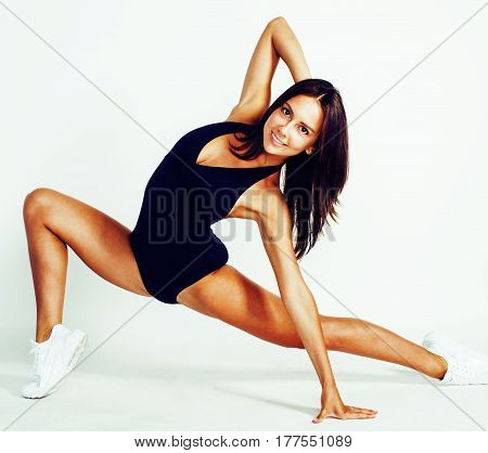 young pretty slim woman doing gym isolated on white background, healthcare people concept close up