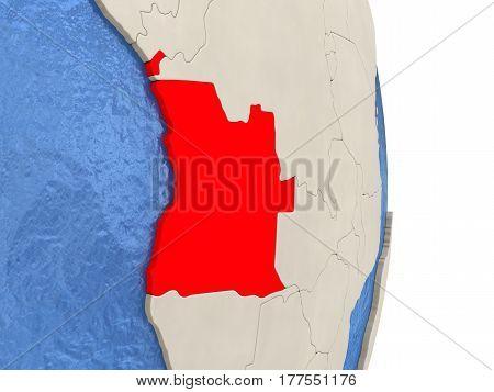 Angola On Model Of Political Globe