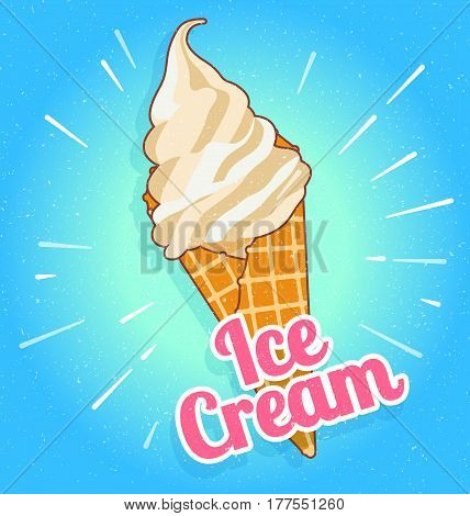 Colorful tasty isolated ice cream at a turquoise background. Crunchy wafer cone filled with white and beige cream. Vector Illustration