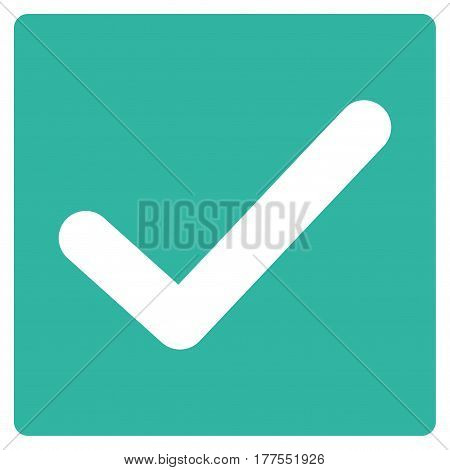 Valid Tick vector icon. Flat cyan symbol. Pictogram is isolated on a white background. Designed for web and software interfaces.