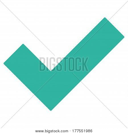 Yes Tick vector icon. Flat cyan symbol. Pictogram is isolated on a white background. Designed for web and software interfaces.