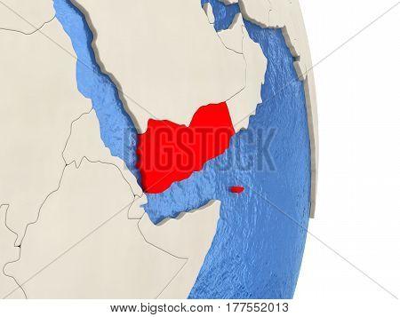 Yemen On Model Of Political Globe