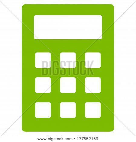 Calculator vector icon. Flat eco green symbol. Pictogram is isolated on a white background. Designed for web and software interfaces.