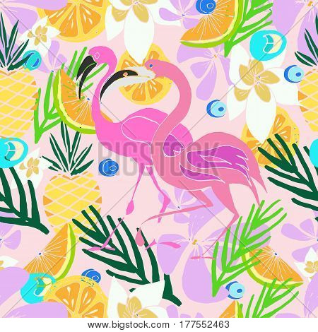 Hand drawn vector pattern. Summer vacation. Tropical seamless background for baby textile surface home interior cover fabric wallpapers print gift wrap cards.