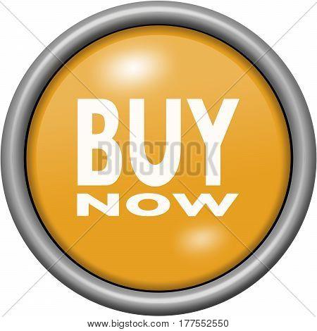 Orange Design Buy Now In Round 3D Button
