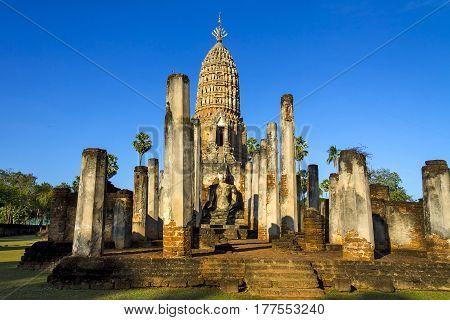 Architecture beauty with sunlight at Wat Phra Si Ratanamahathat in Sisatchanalai Historical Park Sukhothai province Thailand