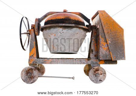 Cement and concrete mixer isolated on white background