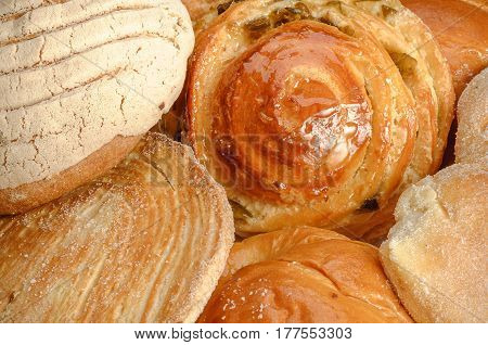 Sweet bread assorted traditional Mexican bakery closeup