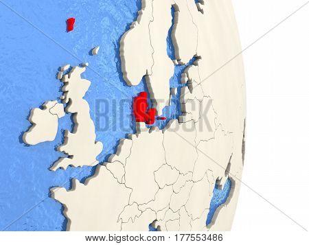 Denmark On Model Of Political Globe