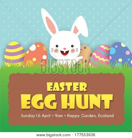 Easter egg hunt invitation template design. Cute cartoon rabbit with baby chick and colorful easter eggs on meadow.