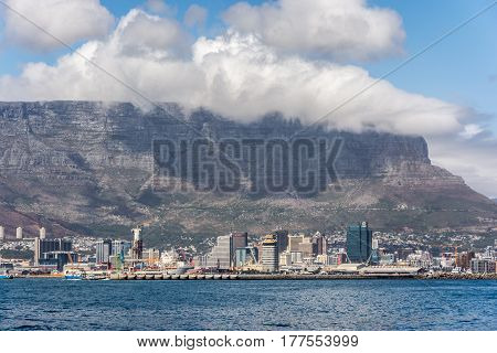 Cape Town South Africa - March 03 2017: Table Mountain as seen from a boat outside the harbour