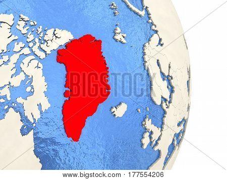 Greenland On Model Of Political Globe