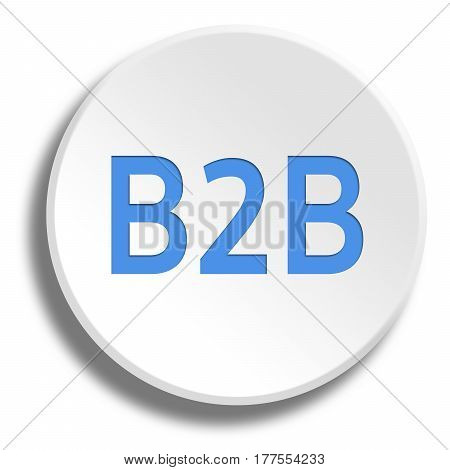 Blue B2B In Round White Button With Shadow