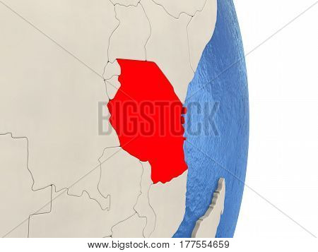 Tanzania On Model Of Political Globe