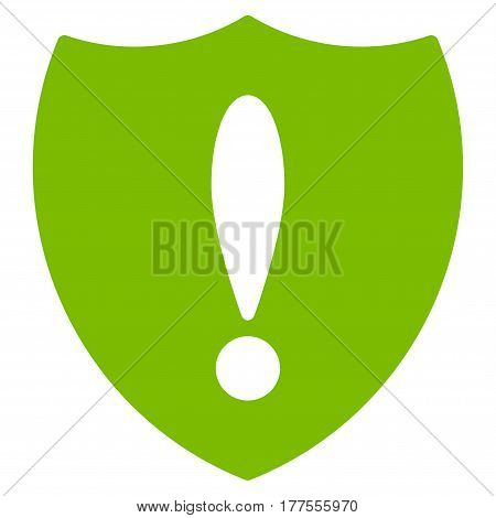 Shiled Problem vector icon. Flat eco green symbol. Pictogram is isolated on a white background. Designed for web and software interfaces.