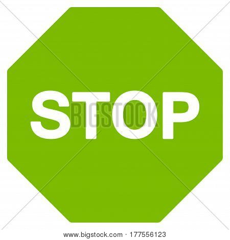 Stop Sign vector icon. Flat eco green symbol. Pictogram is isolated on a white background. Designed for web and software interfaces.