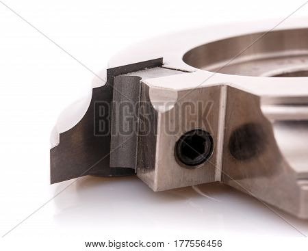 cutter for wood processing, macro photo cutters close, isolated on a white background