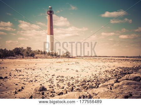 Barnegat Lighthouse, off the coast of the Atlantic, in New Jersey, USA