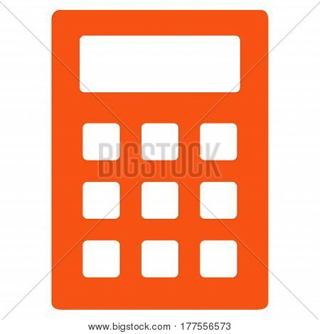 Calculator vector icon. Flat orange symbol. Pictogram is isolated on a white background. Designed for web and software interfaces.