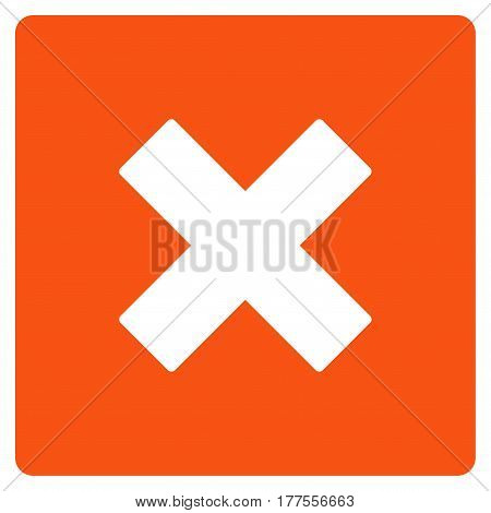 Close vector icon. Flat orange symbol. Pictogram is isolated on a white background. Designed for web and software interfaces.