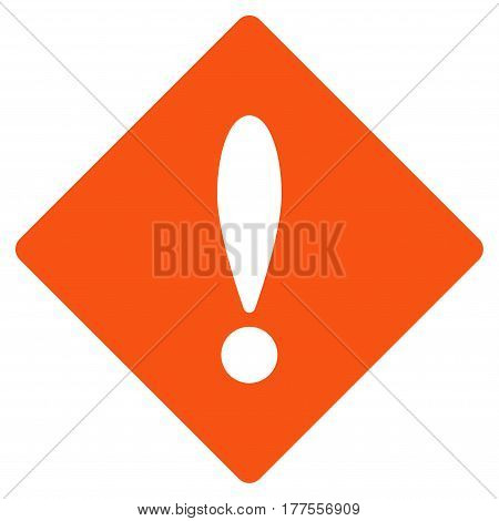 Error vector icon. Flat orange symbol. Pictogram is isolated on a white background. Designed for web and software interfaces.