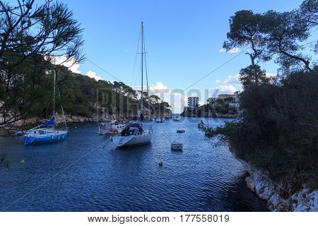 Fishing village Cala Figuera bay panorama and Mediterranean Sea Majorca Spain