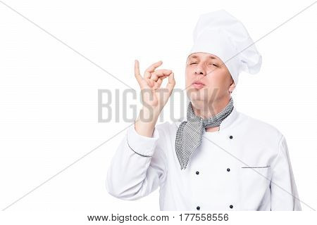 Male Chef Showing Gesture Delicious, On A White Background