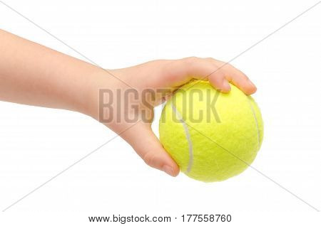 Hand Of Young Kid Holding Tennis Ball.