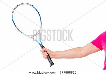 Woman's Hand Holding A Tennis Racket On A White Background