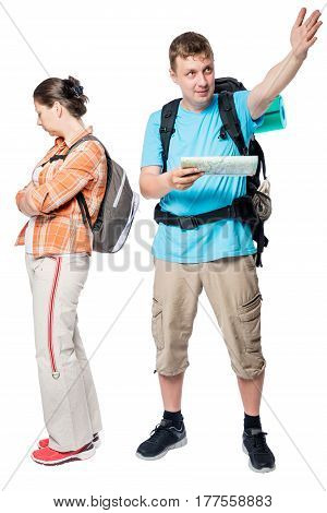 Active Man And Upset Woman Over White Background Travelers