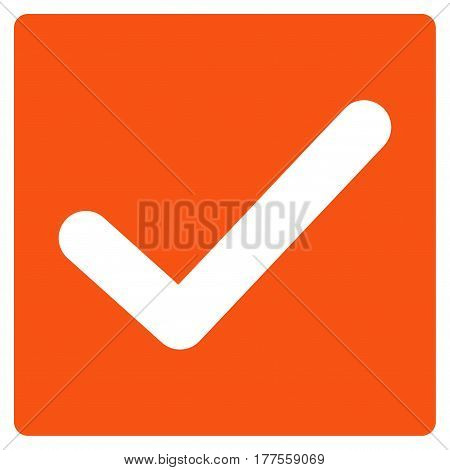 Valid Tick vector icon. Flat orange symbol. Pictogram is isolated on a white background. Designed for web and software interfaces.