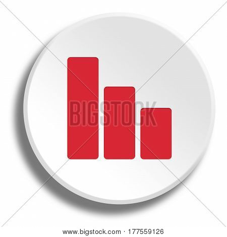 Red Curve In Round White Button With Shadow