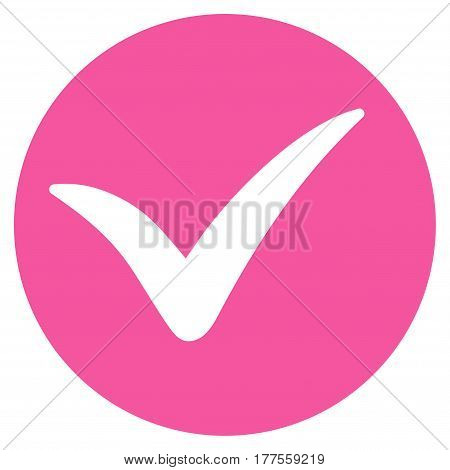 Apply vector icon. Flat pink symbol. Pictogram is isolated on a white background. Designed for web and software interfaces.