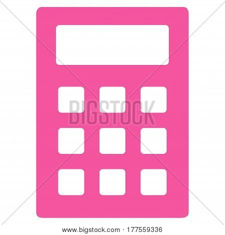 Calculator vector icon. Flat pink symbol. Pictogram is isolated on a white background. Designed for web and software interfaces.
