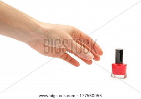 Hand Of Young Girl Holding Nail Polish Bottle.