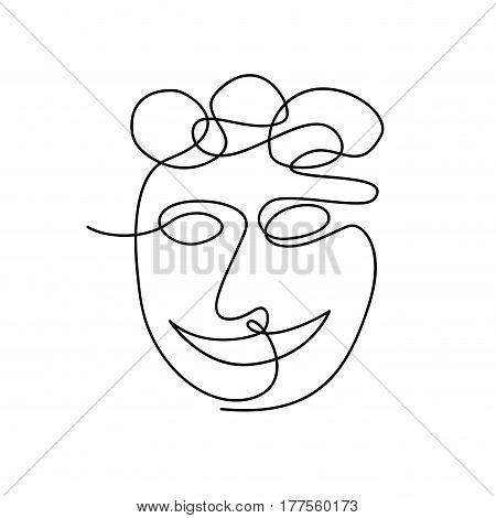 Vector continuous line. Abstract portrait of a woman