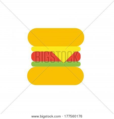 Vector icon or illustration showing fast food cafe with hamburger in material design style