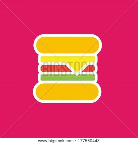 Vector icon or illustration showing fast food cafe with hamburger in outline style