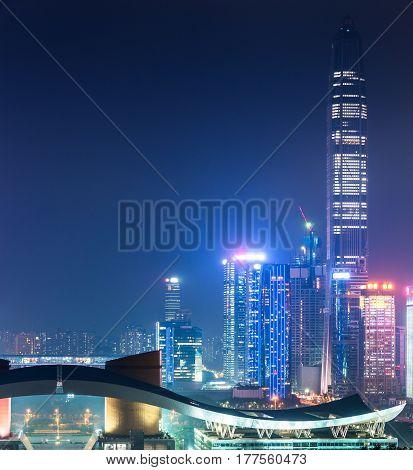 illuminated cityscape at night in Shanghai,China .