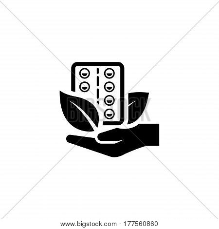 Herbal Medicine Icon with Leaves. Flat Design Isolated.