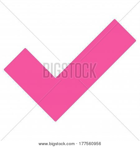 Yes Tick vector icon. Flat pink symbol. Pictogram is isolated on a white background. Designed for web and software interfaces.