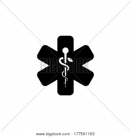 Star of Life Icon. Flat Design. Isolated