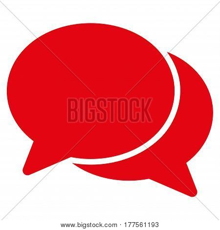 Chat vector icon. Flat red symbol. Pictogram is isolated on a white background. Designed for web and software interfaces.