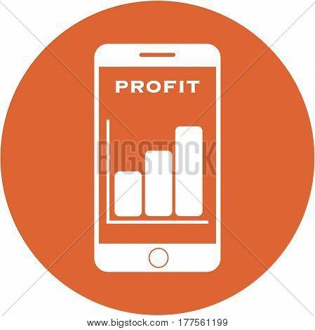 Orange Profit Design In A Flat Round Button