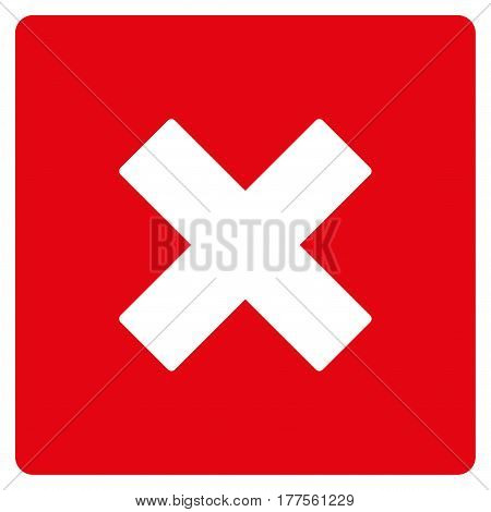 Close vector icon. Flat red symbol. Pictogram is isolated on a white background. Designed for web and software interfaces.