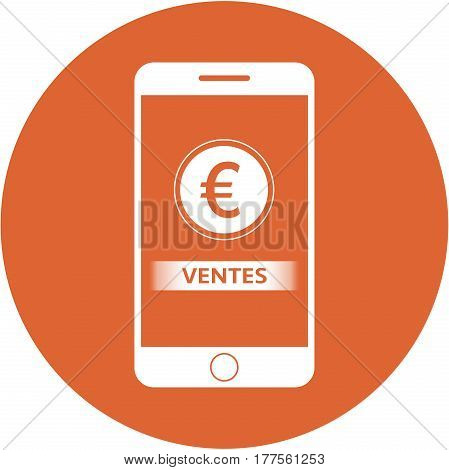 Orange Sales And Euro Sign Design In A Flat Round Button