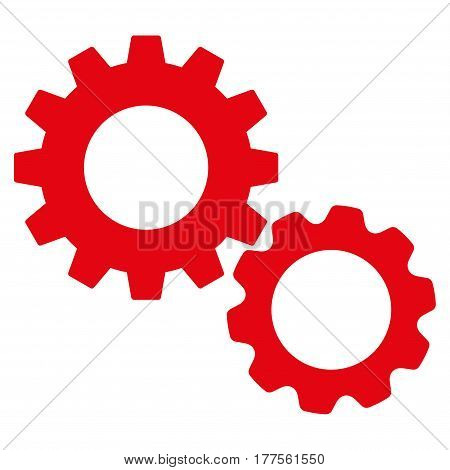Gears vector icon. Flat red symbol. Pictogram is isolated on a white background. Designed for web and software interfaces.